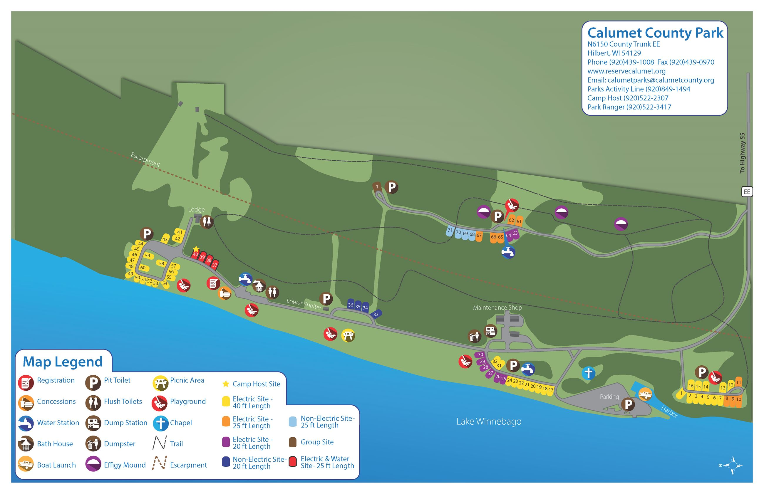 Calumet County Park Campground and Trail Map2021