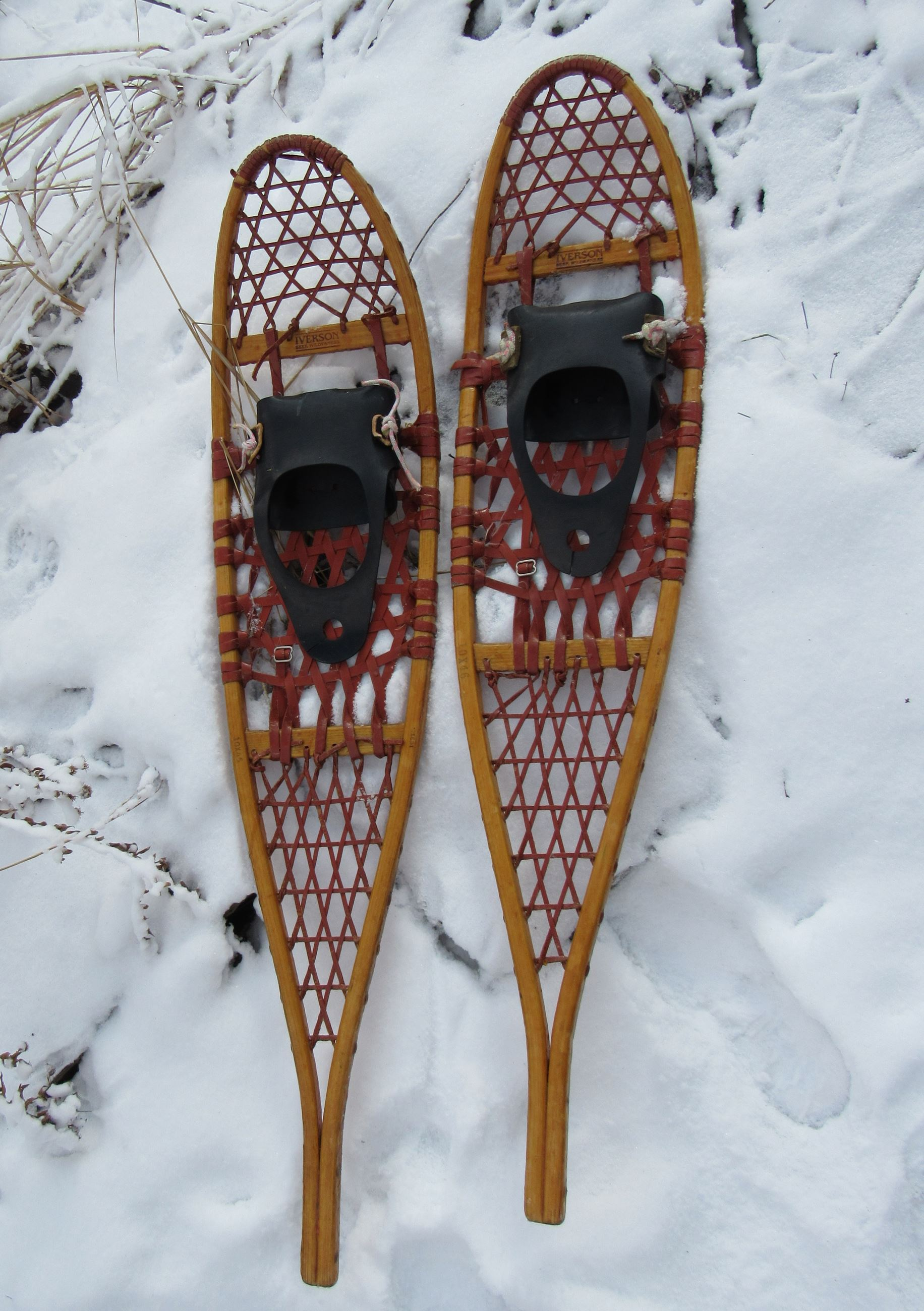 A pair of traditional snowshoes